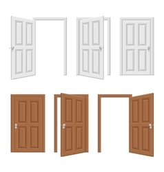 Closed and open doors set vector image