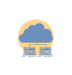 Cloud network server internet data glyph icon vector
