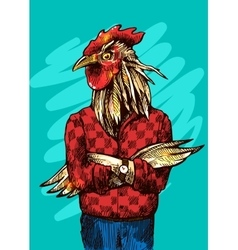 Cock fashion style vector