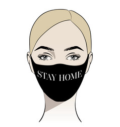 Coronavirus hand drawn woman in black mask vector