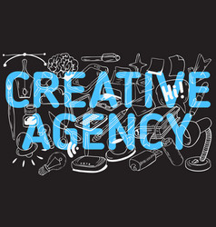 Creative agency artistic cartoon hand drawn vector