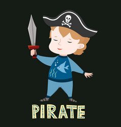 Cute baby boy in pirate clothes vector