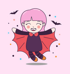 cute dracula girl fly with bat vector image