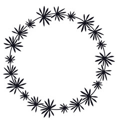cute floral frame black silhouette vector image