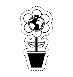 Cute flower with earth planet vector