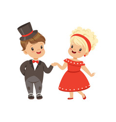 Cute little boy and girl dancing classical dance vector