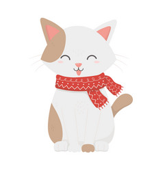 cute white cat with scarf tongue out celebration vector image