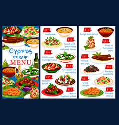 cyprus cuisine menu cyprian national dishes vector image