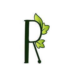Doodling eco alphabet letter rtype with leaves vector