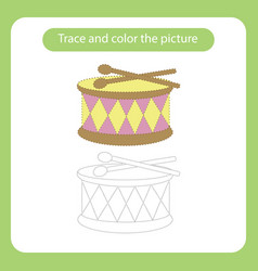 drum and sticks toy with simple shapes trace and vector image