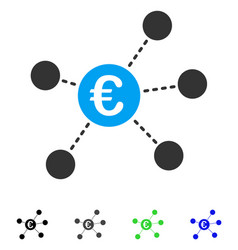 Euro virtual links flat icon vector