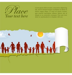 family silhouettes through a hole in a paper vector image