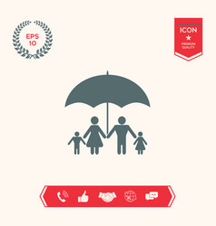Family under umbrella - family protect icon vector