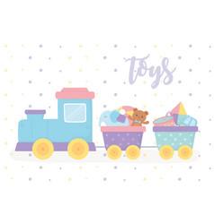 filled train with teddy bear kite elephant cartoon vector image