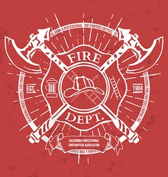 Fire dept label helmet with crossed axes t-shirt vector
