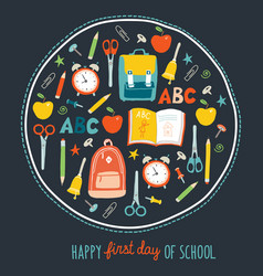 first day of school background card concept vector image