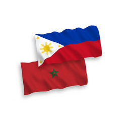 Flags morocco and philippines on a white vector