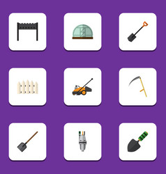 flat icon farm set of lawn mower wooden barrier vector image