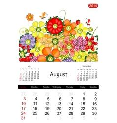 Floral calendar 2014 august vector