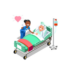 Funny nurse and female elderly patient in bed vector