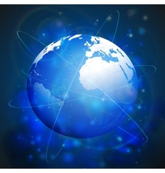 Globe network connections blue design background vector image