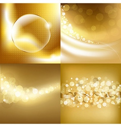 Gold backgrounds set vector