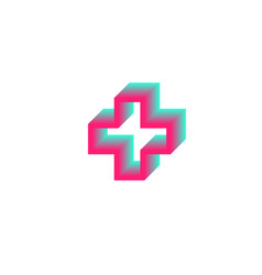 gradient contour cross logo health medical symbol vector image