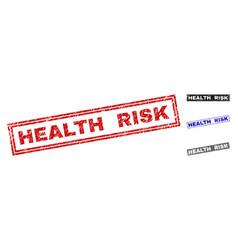 Grunge health risk textured rectangle stamp seals vector