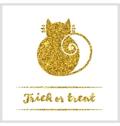 Halloween gold textured cat icon vector