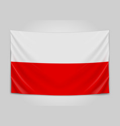 Hanging flag of poland republic of poland polish vector