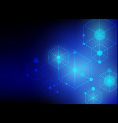 hexagon line abstract blue technology background vector image