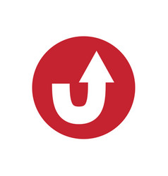 Icon u turn arrow traffic in color circle vector