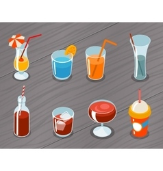 Isometric 3d drinks icons vector