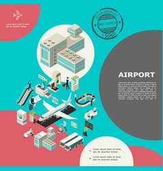 isometric airport elements concept vector image