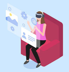isometric woman touching virtual reality interface vector image