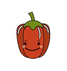 Kawaii cute happy pepper vegetable vector