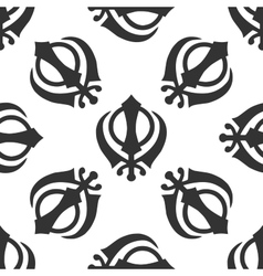 Khanda Sikh icon pattern on white background vector