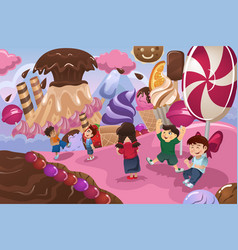 kids playing in a dessert land vector image