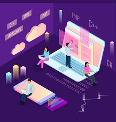 laptop programming isometric composition vector image