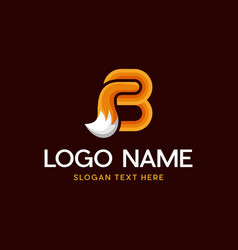 Letter b fox modern animal abstract business logo vector