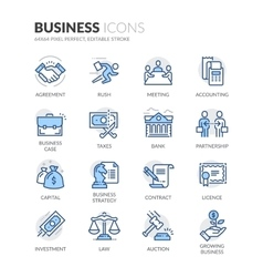Line Business Icons vector image