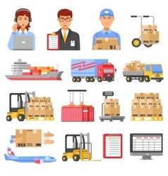 Logistics And Delivery Decorative Icons Set vector