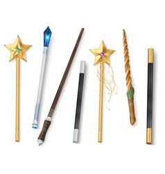 Magic wand realistic set vector