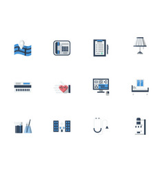 Medical services flat color icons set vector