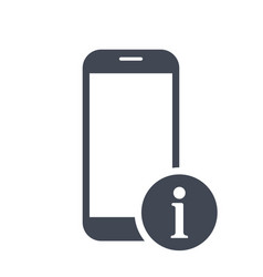 Mobile phone icon with information sign vector