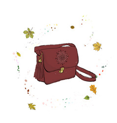 Modern stylish bag of burgundy color accessories vector