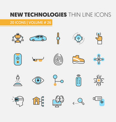 Modern technologies linear thin line icons set vector