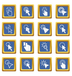 mouse pointer icons set blue vector image