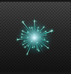 neon blue fireworks or firecrackers icon realistic vector image