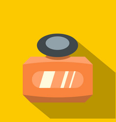 Orange bottle of female perfume icon flat style vector